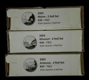 Click now to see the BUY IT NOW Price! 2003 US MINT   R35 R36 R37  MAINE MISSOURI. ARKANSAS QUARTER 2 ROLL SETS