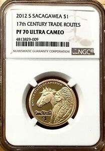 2012 S SACAGAWEA DOLLAR 17TH CENTURY TRADE ROUTES NGC PF70 ULTRA CAMEO SAC LABEL