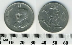 SOUTH AFRICA 1968   50 CENTS NICKEL COIN   PRESIDENT CHARLES SWART   ENG. LEGEND