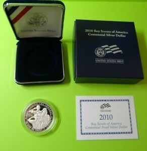 2010 P BOY SCOUTS OF AMERICA CENTENNIAL PROOF SILVER DOLLAR W/BOX & COA