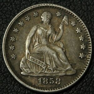 Click now to see the BUY IT NOW Price! 1858 SEATED LIBERTY SILVER HALF DIME   SLIGHT LUSTER