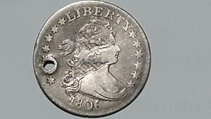 1806/5 DRAPED BUST SILVER QUARTER GOOD  BOLD OVER DATE 25 CENT