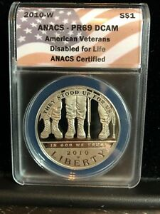 2010 W AMERICAN VETERANS DISABLED LIFE SILVER $1 COMM ANACS PR69 DCAM  14