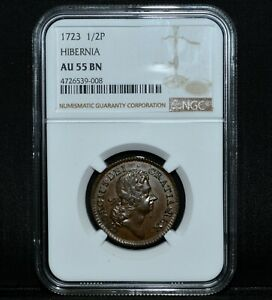1723 1/2 PENCE WOODS HIBERNIA  NGC AU 55  HALFPENNY ALMOST UNC CHOICETRUSTED