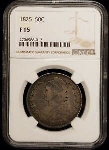 1825 CAPPED BUST SILVER HALF DOLLAR 50C NGC F15