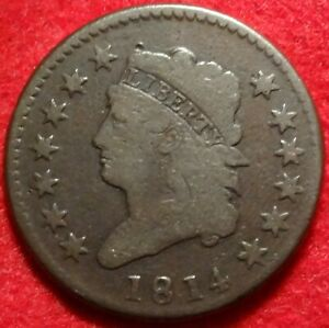 1814 CLASSIC HEAD LARGE CENT CHOICE GOOD CROSSLET 4 S 294 1C VARIETY