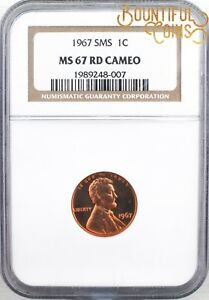 1967 NGC MS 67 SMS RD CAMEO LINCOLN CENT 1C SPECIAL MINT SET PENNY  M117