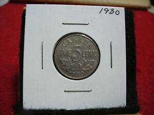 1930  CANADA  1  NICKEL 5 CENTS  COIN   GOOD GRADE    SEE ALL PHOTOS   SCRATCH