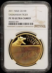 Click now to see the BUY IT NOW Price! 2011 NIUE TASMANIAN TIGER $100 1 OZ GOLD COIN NGC PF70 ULTRA CAMEO TOP POP