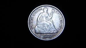 1872 SEATED LIBERTY HALF DIME   DIE CLASH AND REVERSE CUD   A127