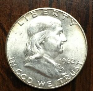 1962 FRANKLIN HALF DOLLAR BU SILVER 50 CENTS