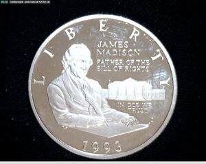 1993S SILVER PROOF JAMES MADISONBILL OF RIGHTS COMMEMORATIVE HALF DOLLAR 4177A