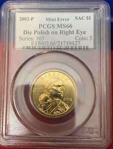 Click now to see the BUY IT NOW Price! 2002 P MS 66 SACAGAWEA NATIVE AMERICAN DOLLAR PCGS MINT ERROR RIGHT EYE