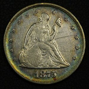 1875 SILVER TWENTY CENT PIECE   SCRATCHES