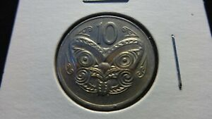 NEW ZEALAND  1970 10 CENTS   MAORI MASK  COIN 23.62 MM