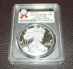 2017 S CONGRATULATIONS SET PCGS PR 70 DCAM SILVER EAGLE FIRST DAY OF ISSUE