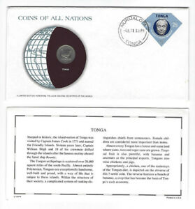 COINS OF ALL NATIONS SERIES TONGA 5 SENITI 1977 SEALED COA CARD COIN & STAMP '77