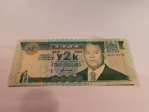 FIJI BANKNOTE TWO DOLLAR NOTE. 2$ NOTE. 2000. UNCIRCULATED MINT NOTE. P102A