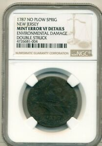 1787 NEW JERSEY COPPER CENT NO PLOW SPRIG DOUBLE STRUCK NGC VF DETAILS ERROR