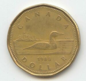 CANADA 1988 LOONIE CANADIAN ONE DOLLAR 1 $1 PIECE LOON EXACT COIN SHOWN