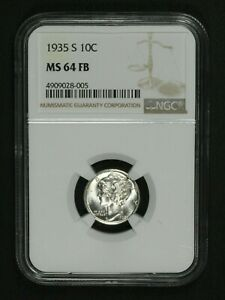 Click now to see the BUY IT NOW Price! 1935 S MERCURY SILVER DIME NGC MS 64 FB