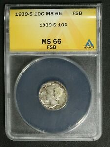 Click now to see the BUY IT NOW Price! 1939 S MERCURY SILVER DIME ANACS MS 66 FB
