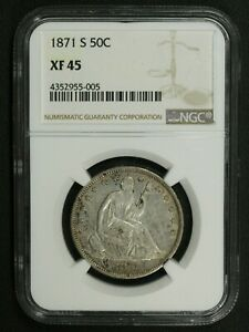 Click now to see the BUY IT NOW Price! 1871 S SEATED LIBERTY SILVER HALF DOLLAR NGC XF 45