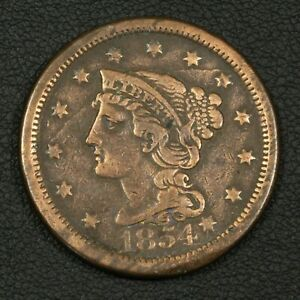 Click now to see the BUY IT NOW Price! 1854 N 19  OBVERSE DIE CRACK  BRAIDED HAIR COPPER LARGE CENT   CLEANED