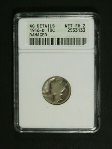 Click now to see the BUY IT NOW Price! 1916 D MERCURY SILVER DIME OLD WHITE ANACS HOLDER AG DETAILS NET FR 02   DAMAGED