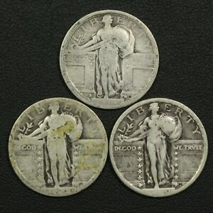Click now to see the BUY IT NOW Price! LOT OF 3 STANDING LIBERTY SILVER QUARTERS: 1917 TYPE 1 1918? & 1920