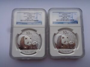 2 2011 CHINESE SILVER PANDA NGC MS70 CHINA 10Y YUAN EARLY RELEASES ER S10Y