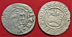 SILVER MEDIEVAL COINS 1/2 GROSCH SET 2 PIECES  POLAND LITHUANIA