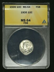 Click now to see the BUY IT NOW Price! 1935 MERCURY SILVER DIME ANACS MS 64 FB