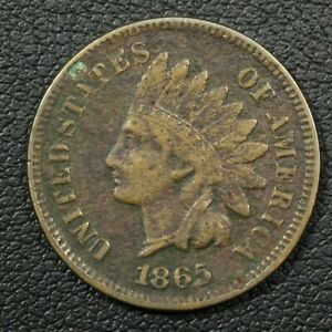 Click now to see the BUY IT NOW Price! 1865 PLAIN 5 INDIAN HEAD CENT COPPER PENNY   CORRODED