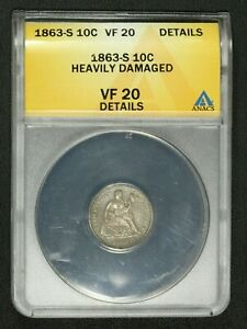 Click now to see the BUY IT NOW Price! 1863 S SEATED LIBERTY SILVER DIME ANACS VF 20 DETAILS   HEAVILY DAMAGED