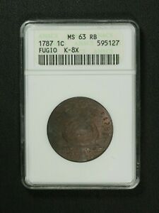 Click now to see the BUY IT NOW Price! 1787 COLONIAL EARLY COPPER FUGIO CENT OLD WHITE ANACS HOLDER MS 63 RB