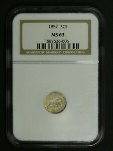 Click now to see the BUY IT NOW Price! 1852 SILVER THREE CENT PIECE NGC MS 63