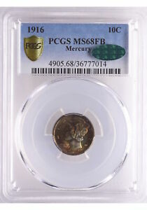 Click now to see the BUY IT NOW Price! 1916 10C MERCURY DIME PCGS SECURE MS68FB CAC POP 15/0