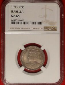 1893 ISABELLA 25C NGC MS 65 GEM UNCIRCULATED COMMEMORATIVE QUARTER TYPE COIN
