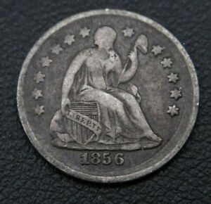 ERROR? BROADSTRIKE ANTIQUE 1856 SEATED LIBERTY 1/2 HALF DIME SILVER COIN