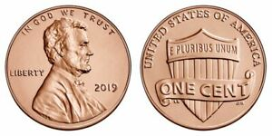 TWO   2   2019   P   BU  LINCOLN SHIELD PENNIES FROM LOGISTICS ROLLS.