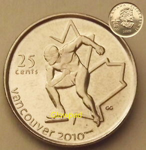 CANADA COIN .25C VANCOUVER 2010 WINTER PARA OLYMPIC GAMES SPEED SKATING  UNC