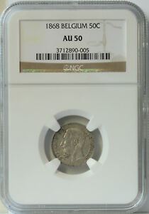 Click now to see the BUY IT NOW Price! 1868 BELGIUM 50 CENT AU50 NGC. KEY DATE AND ORIGINAL LOOK. ONLY 3 GRADED