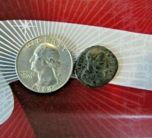 ANCIENT AUTHENTIC ROMAN 1X COIN AND 1X WASHINGTON 90  SILVER 25C WITH FULL DATE