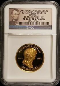 Click now to see the BUY IT NOW Price! 2015 BVI SMITHSONIAN LINCOLN ULTRA HIGH RELIEF 1 OZ PROOF GOLD COIN NGC PF70 UC