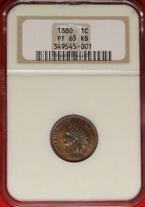 1880 1C NGC PF 65 RB GEM PROOF PR RED BROWN INDIAN HEAD CENT TYPE COIN