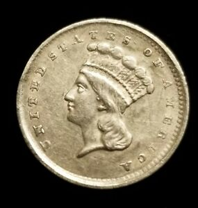1856 $1 INDIAN PRINCESS HEAD SLANTED 5 TYPE 3 GOLD COIN IN XF CONDITION