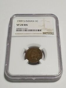 1909 S INDIAN HEAD CENT PENNY NGC GRADED VF 20 BN