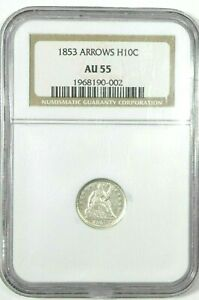 1853 LIBERTY SEATED HALF DIME W ARROWS AT DATE NGC AU 55 SILVER 5C PRISTINE