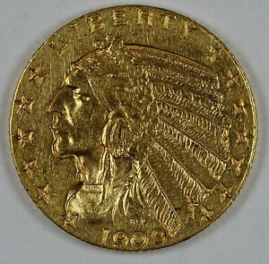 1909 P $5.00 GOLD INDIAN NOT GRADED BU 6605